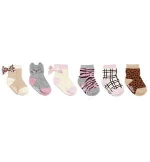 F21 - 6 Pack Infant Socks - Purr-Fect Kitty - 0-6M 0-6M