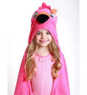 Kids Plush Terry Hooded Bath Towel - Franny Flamingo 2Y+