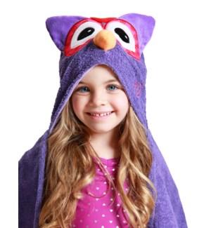 Kids Plush Terry Hooded Bath Towel - Olive Owl 2Y+