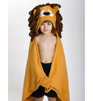 Kids Plush Terry Hooded Bath Towel - Leo Lion 2Y+