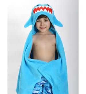 Kids Plush Terry Hooded Bath Towel - Sherman Shark 2Y+