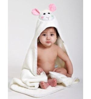 Baby Snow Terry Hooded Bath Towel - Lola Lamb 0-18M
