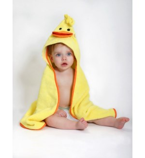 Baby Snow Terry Hooded Bath Towel - Puddles Duck 0-18M