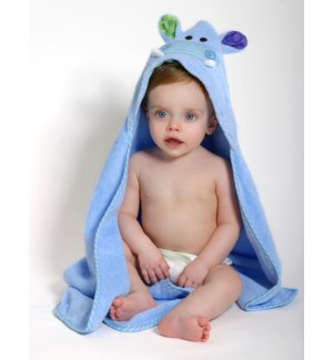 Baby Snow Terry Hooded Bath Towel - Henry Hippo 0-18M