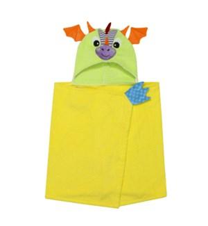Kids Plush Terry Hooded Bath Towel - Drool Dragon 2Y+