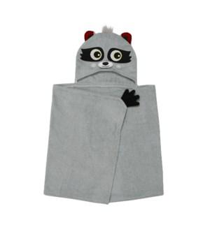 Kids Plush Terry Hooded Bath Towel - Rocco Raccoon 2Y+