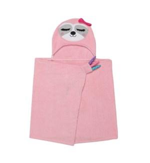 Kids Plush Terry Hooded Bath Towel - Sadie Sloth 2Y+