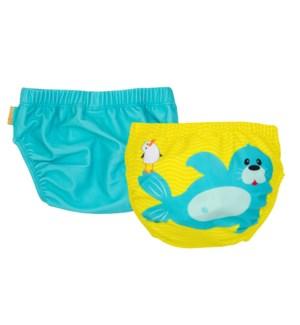 Knit Swim Diaper 2 Pc Set - Seal 6-12m