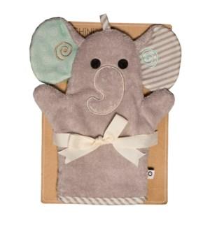 Baby Snow Terry Bath Mitt - Elle Elephant 0-18M