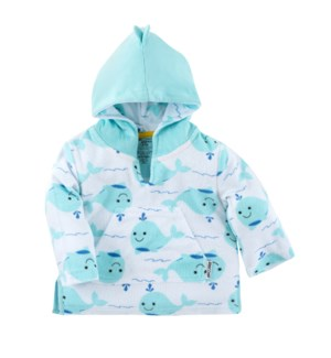 UPF50+ Baby Terry Swim Coverup - Whale 0-12mths