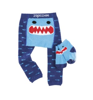 grip+easy™ Crawler Legging & Sock Set - Sherman Shark 6-12mths