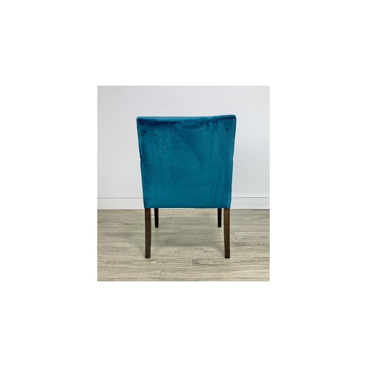 Hudson Arm Chair Aqua Velvet 600/ Dark Walnut