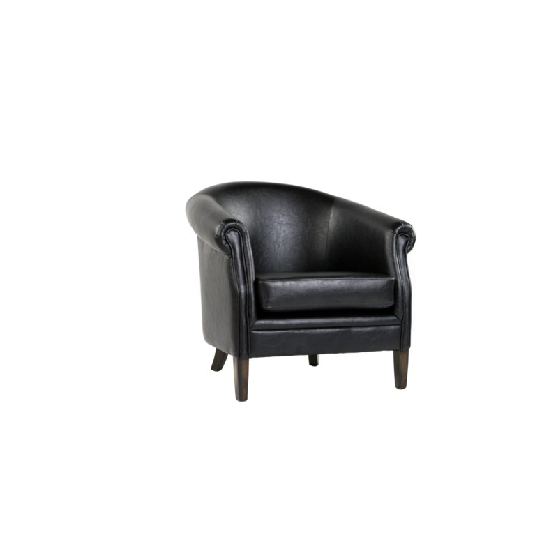 Mia Club Chair Primo Black / P307 Dark Walnut