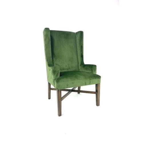 Elizabeth Arm (503)Green Velvet/ Dark Walnut
