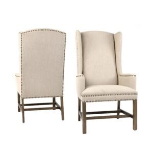 Oliver Wing Back Chair Nat Linen Drftwd