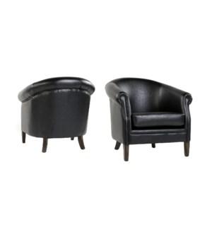 Mia Club Chair Primo Black / P307 Dark Walnut