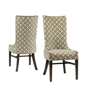 Joplin Side Chair Brown Trellis / Dark Walnut