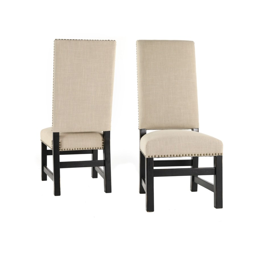 Leah Side Chair Natural Linen / Black Finish