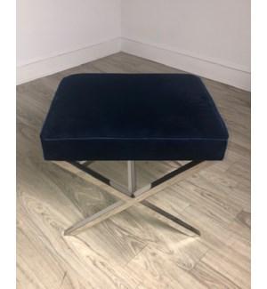 Exly Stool Velvet Dk Blue (606) / Stainless Steel