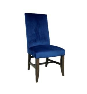 Winston Side Chair Blue Velvet/ Dark Walnut