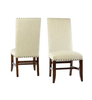 Winston Side Chair Natural LinenChestnut
