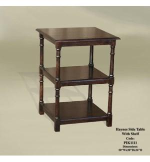 Haynes Side Table w/Shelf 20x20x28 Chestnut