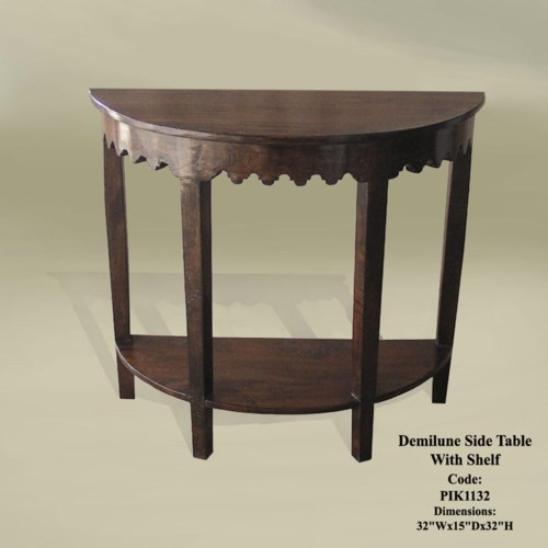 Demilune Side Table w/ Shelf 32x14x32