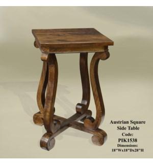 Austrian Square Side Table Chestnut