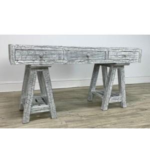 San Angel Desk 3 Dwr HW White Rough 60x24x31