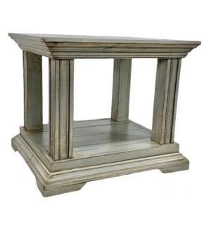 Pedestal Side Table Fea Grey 28x24x25