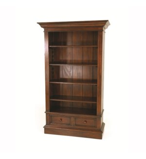 Cottage Bookcase w/drawers Nutmeg
