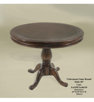"Clairemont Game Round Table 40"" Tobacco"