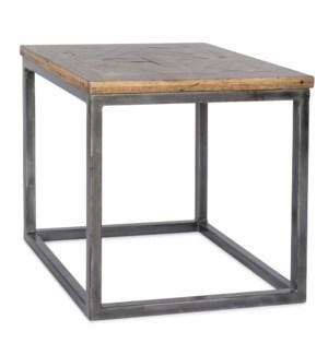 Rochelle End Table Driftwood / Gun Metal Base