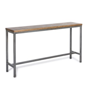 Rochelle Console Table Driftwood / Gun Metal Base