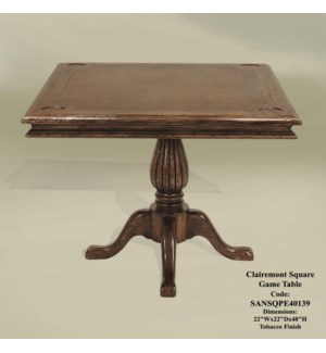 Clairemont Game Square Table Tobacco
