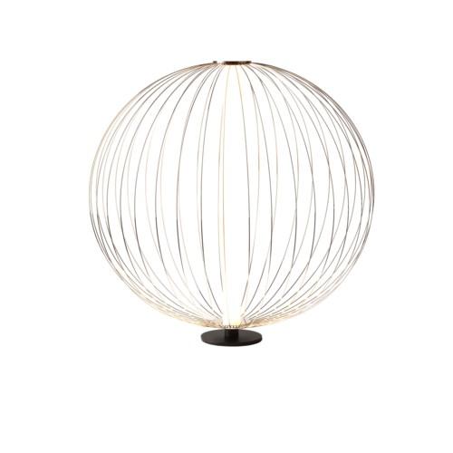 Spokes Table Lamp Round Small Satin Nickel
