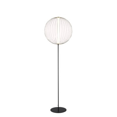 Spokes Floor Lamp Round Small Satin Nickel