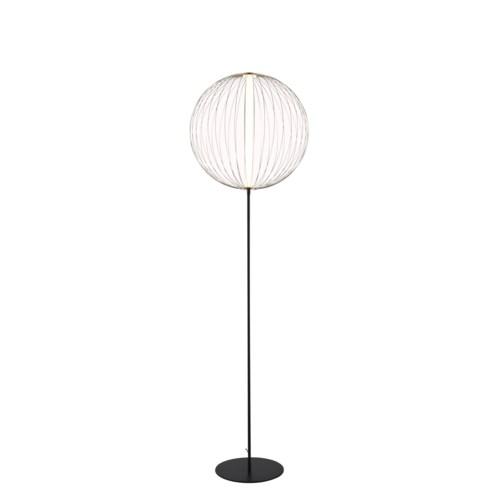 Spokes Floor Lamp Round Small Satin Nickel