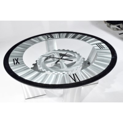 Cog Clock Cocktail Table Silver
