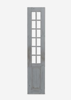 """(SP) 87"""" Bayside Solid Wood Paned Door Panels In Antique White (18x1.5x87)"""