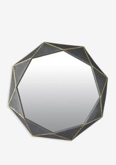 (LS) Zinc Finished With Brass Weldings Metal Hex Mirror (26.25x25.25x2.25)