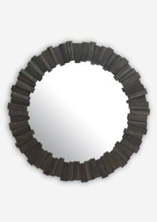 """(SP) 43"""" Pinwheel Wood Mirror In Grey Wash..(43x1.5x43).."""