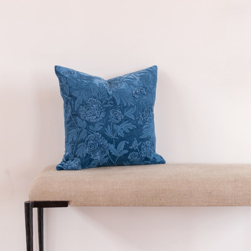 """Pauline 20"""" Square Embroidered Pillow, Blue"""