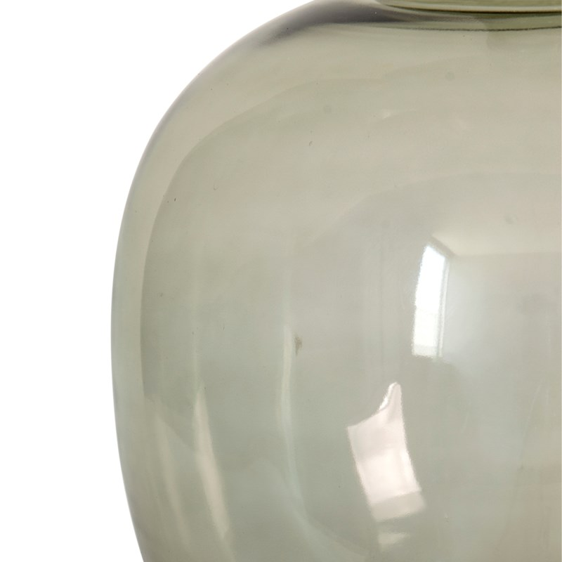 """18"""" H Round Glass Vessel  - Clear with Greenish Tint"""
