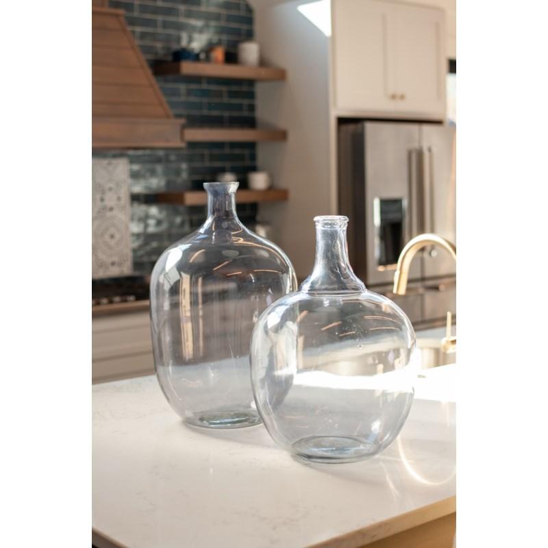 "22.5"" H Oval Glass Vessel - Smoke"