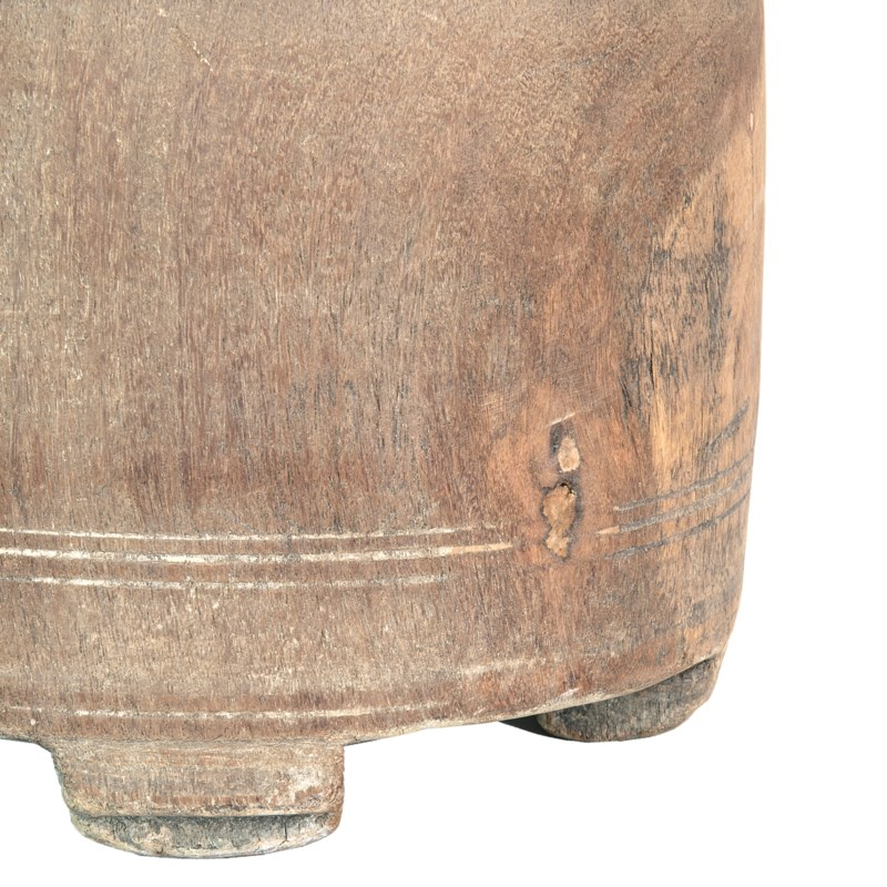 "Found object -  Wooden vessel 9"" X 22"" H -- Dark finish"