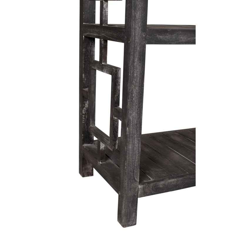 "Madison 47""W Low Shelving, Black Wash"