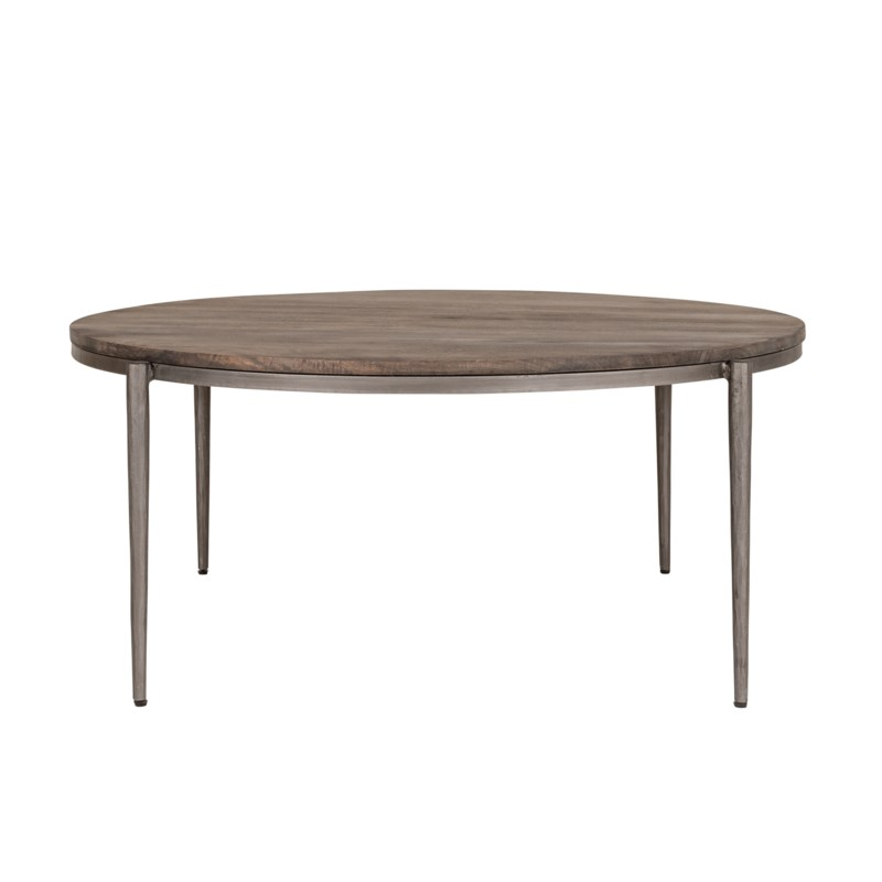 """Walker 37"""" Round Coffee Table, Black Iron Frame/Grey Patina Wood Top"""