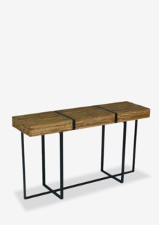 (LS) Blake reclaimed natural teak bundle with metal straps console table..Dimension: 55X15X31.5