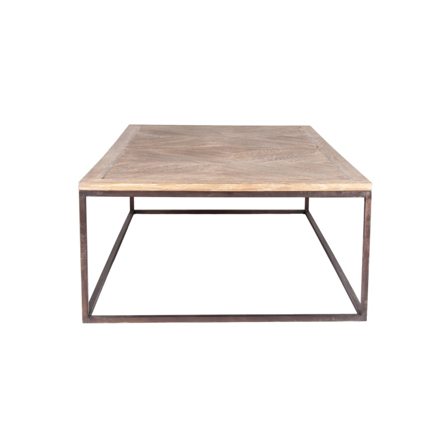 Bryant Coffee Table with  Parquet Top and Metal Base, Black and Tan